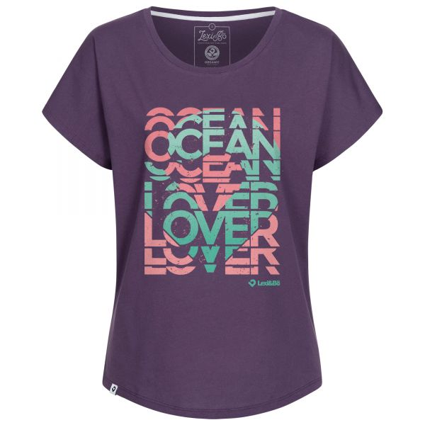 Ladies oversized T-Shirt in purple with print Ocean Lover