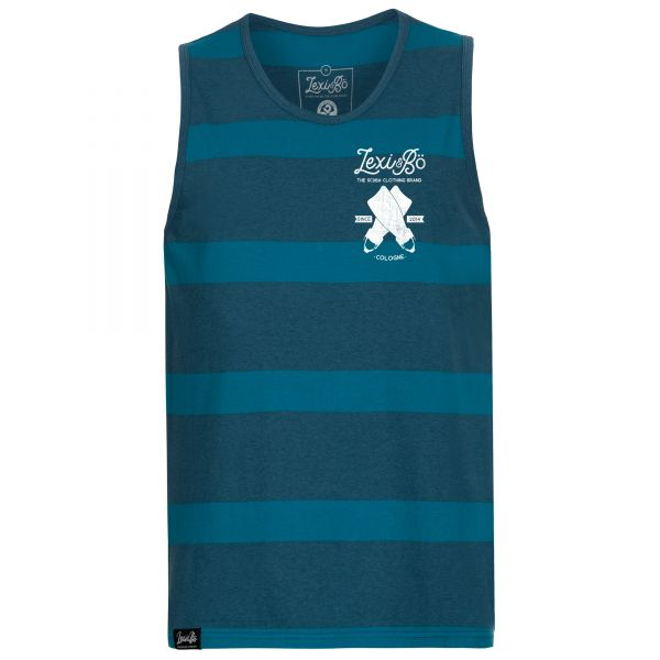 Two-tone blue striped tank top for men with loose fit and diving fin logo print
