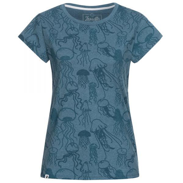 Leicht tailliertes Damen T-Shirt mit Jellyfish-Allover-Print in den Farben Blau Melange