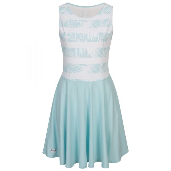 Jersey dress with top in palm leaf look and wide swinging skirt
