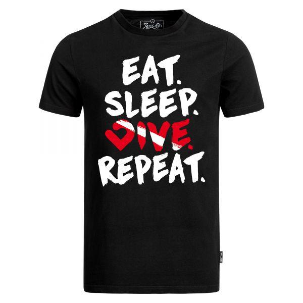 Eat. Sleep. Dive. Repeat. T-Shirt für Herren in schwarz Vorderansicht