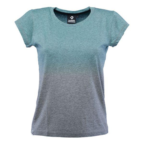 Dip Dye T-Shirt für Damen in grau melange/aquamarin; Vorderansicht