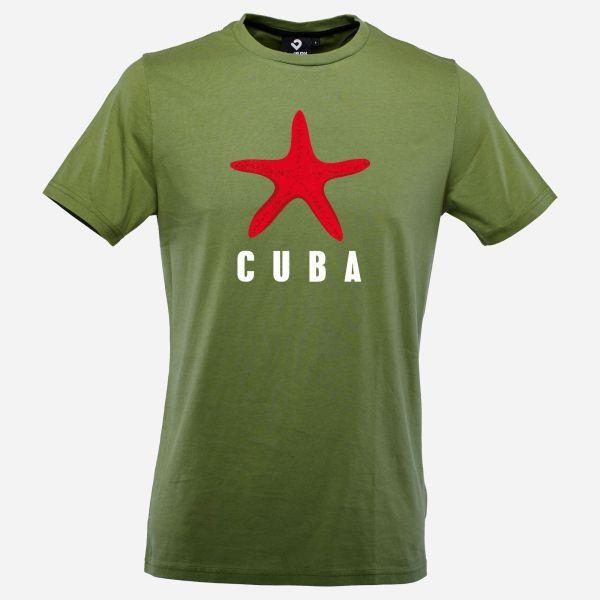 Cuba Star T-Shirt für Männer in Kohlegrün mit rotem Seestern, Vorderansicht