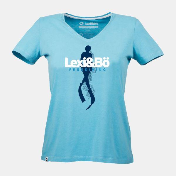 Freediving T-Shirt für Damen in ozean blau von Lexi&Bö - Vorderansicht