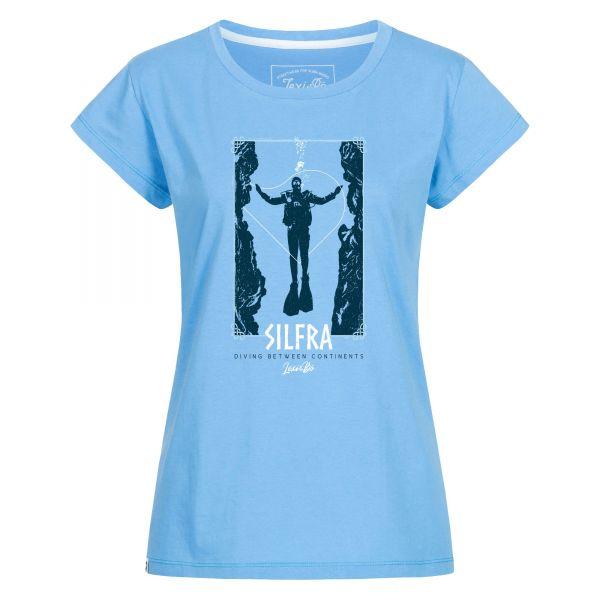Silfra Iceland T-Shirt in für Damen Azur Blau, Mykonos Blau im Wanderlust-T-Shirt- Club mit großem Taucher-Motiv - Vorderseite
