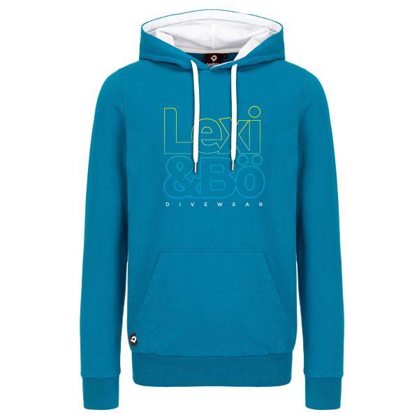 Lexi&Bö Divewear Hoodie für Herren in mykonos blau - Vorderansicht