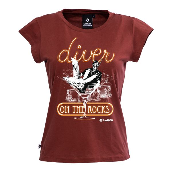 Diver on the rocks T-Shirt für Frauen in dunkelrot