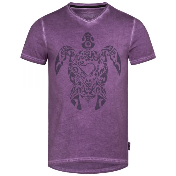Mens V-Neck T-Shirt in a used look with Tribal Turtle print in the color grape compote