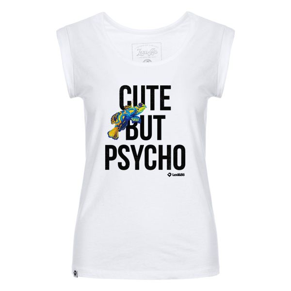 Cute but psycho! Beach Cut T-Shirt für Damen in weiß von Lexi&Bö - Vorderseite