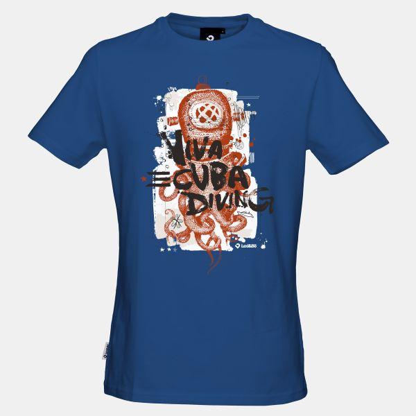 Octopus Helmet T-Shirt für Männer in lapis-blau - Vorderansicht