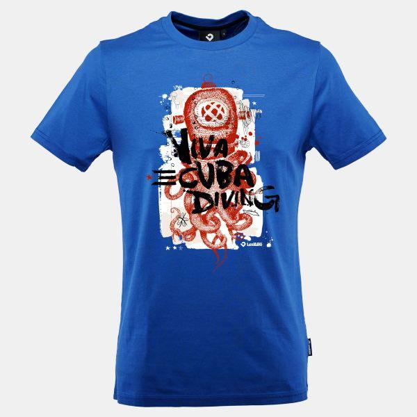 Octopus Helmet T-Shirt für Männer in blau - Vorderansicht
