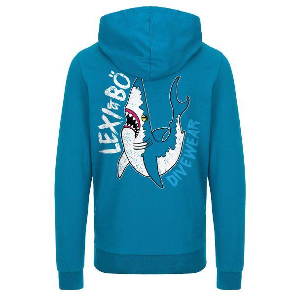 Sharky Herren Hoodie in Mykonos Blau  - Rückenansicht
