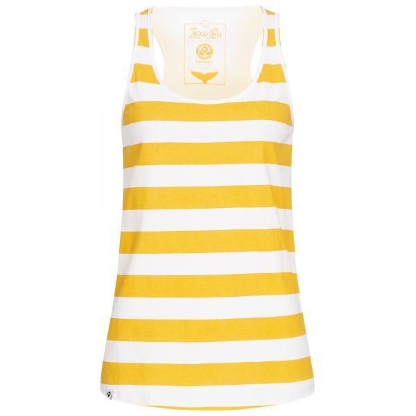Weißes Damen Tank Top mit gelben Streifen