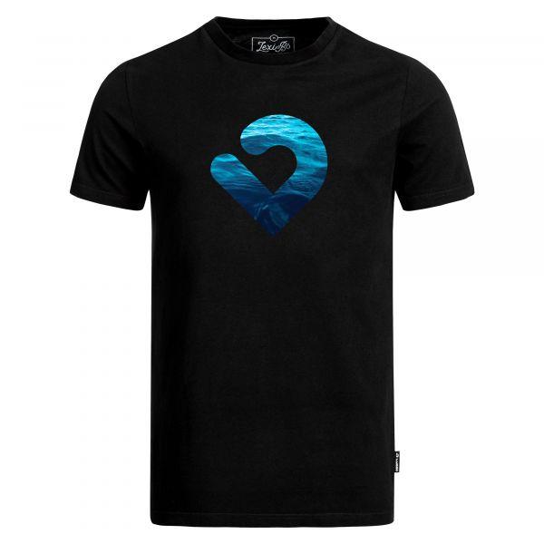 """Black Men's T-Shirt with Blue Scuba Diver Motif Print """"OK"""""""