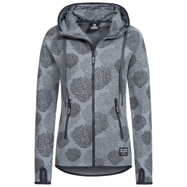 Women's Zip Hoodie with Coral Allover Print in Grey Shades Monument - Dark Shadow
