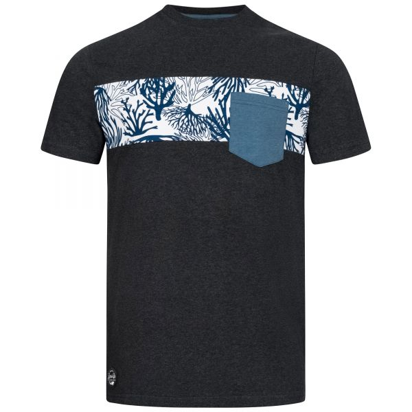 Men's black T-shirt with coral-look chest stripe and patch chest pocket