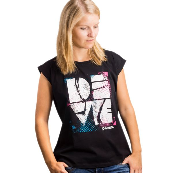 Dive Damen Beach Cut black mit großem Frontprint - Vorderansicht