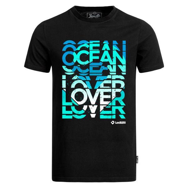 Ocean Lover T-Shirt in schwarz für Männer von Lexi&Bö - Vorderansicht