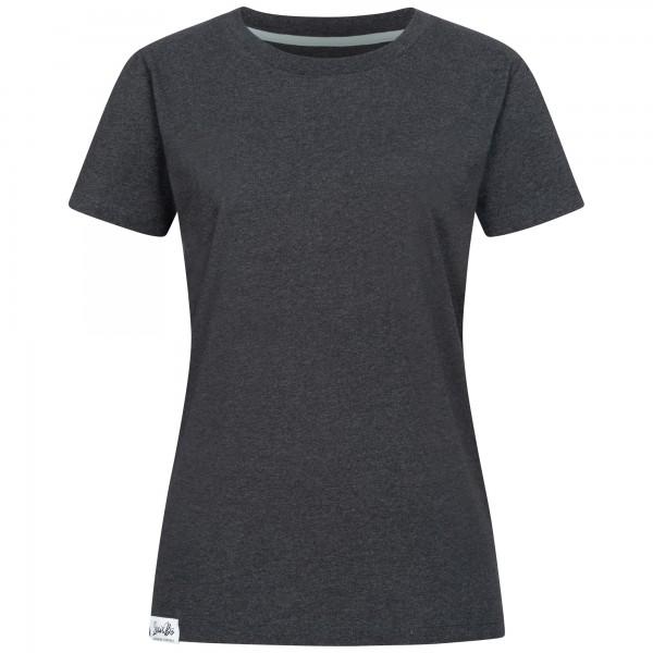 Dark grey, slightly oversized boyfriend T-shirt for women.