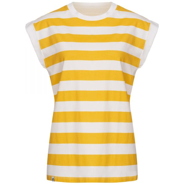 Ladies' yellow and white striped T-shirt with cropped sleeves with fixed turn-up cuffs