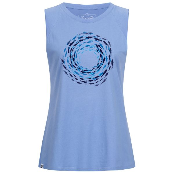 Ladies blue oversized tank top with fish swirl print in organic cotton