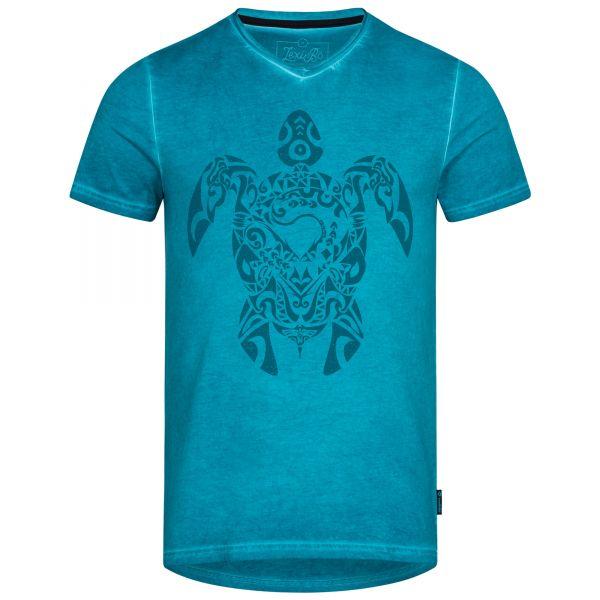 Herren V-Neck T-Shirt im used Look mit Tribal Turtle Druck in der Farbe Mosaic Blue