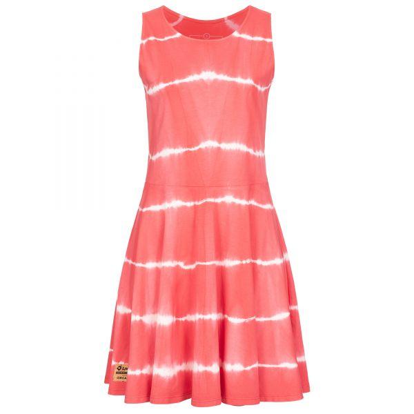 Rosa-weiß gestreiftes Batik-Jerseykleid aus Bio-Baumwolle