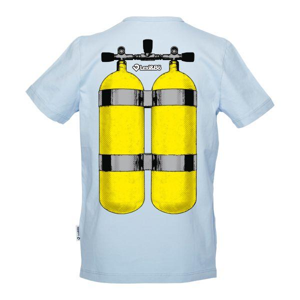 Got air? Jungen T-Shirt in der Farbe blue bell mit Schriftzug auf der Vorderseite und großem Sauerstofftank auf der Rückseite - Rückansicht