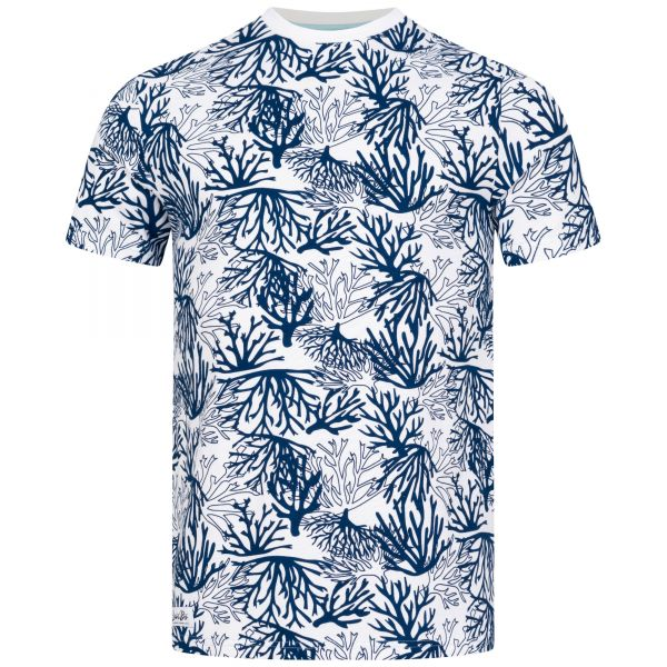 Men's White T-Shirt with Blue Coral Allover Print