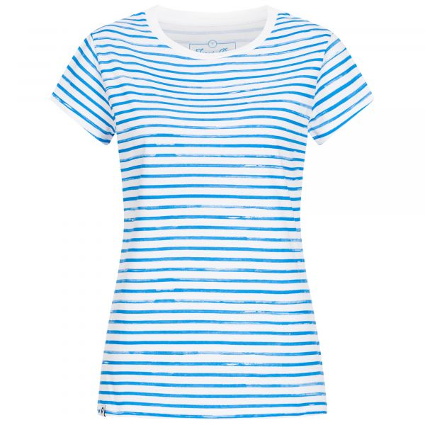 Ladies' blue and white striped, slightly fitted all-over print T-shirt