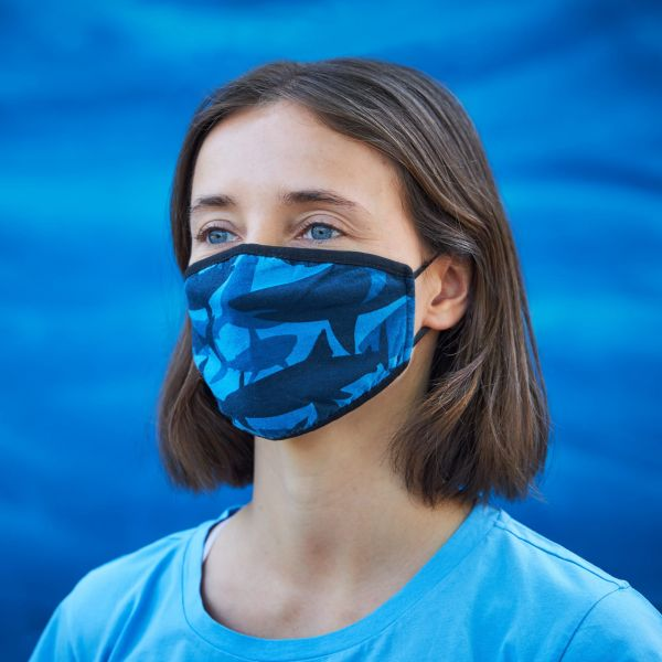 Mund- und Nasenmaske / Behelfsmaske mit Gummibändern (Wiederverwendbar) blau