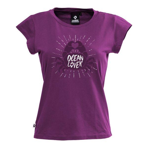 Ocean lover Crab T-Shirt für Damen in aubergine von Lexi&Bö - Vorderseite