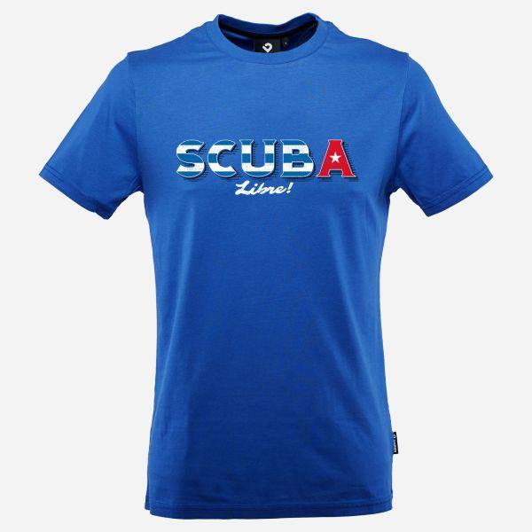 Scuba Libre T-Shirt für Männer in Lapisblau; Vorderansicht