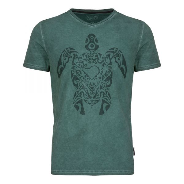 Herren V-Neck T-Shirt im used Look mit Tribal Turtle Druck in der Farbe Pineneedle