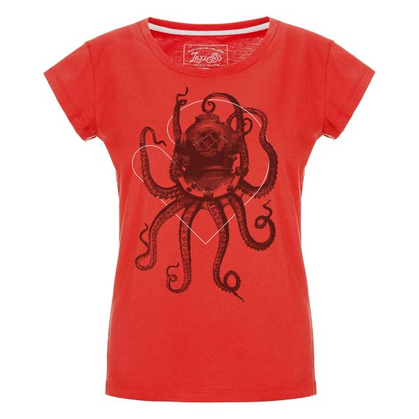 Nautical Octopus T-Shirt für Damen in feurigem Rot - Vorderansicht