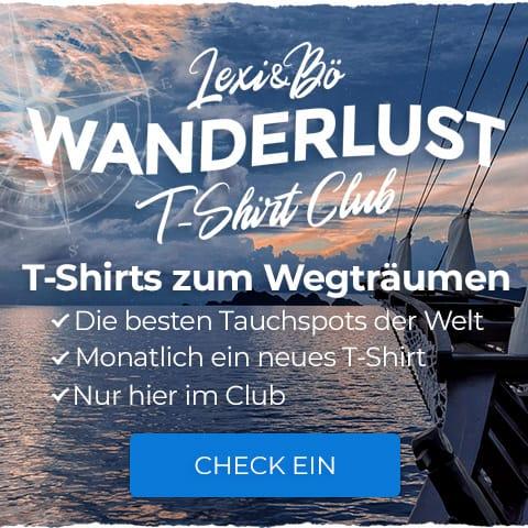 Wanderlust T-Shirt Club: Erhalte monatlich ein neues, überraschendes T-Shirt der besten Tauchspots der Welt
