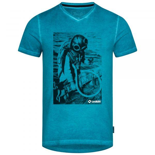 Herren V-Neck T-Shirt im used Look mit Treasure Diver Druck in der Farbe Mosaic Blue