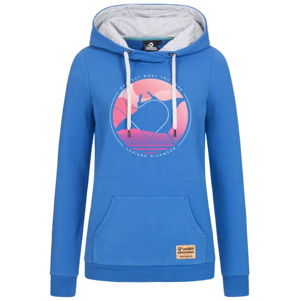 """Ladies hoodie with big manta motive print and statement """"Protect what you love"""""""