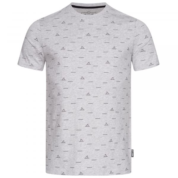 Men's T-shirt in the colour grey-melange with discreet Shark Fin allover print
