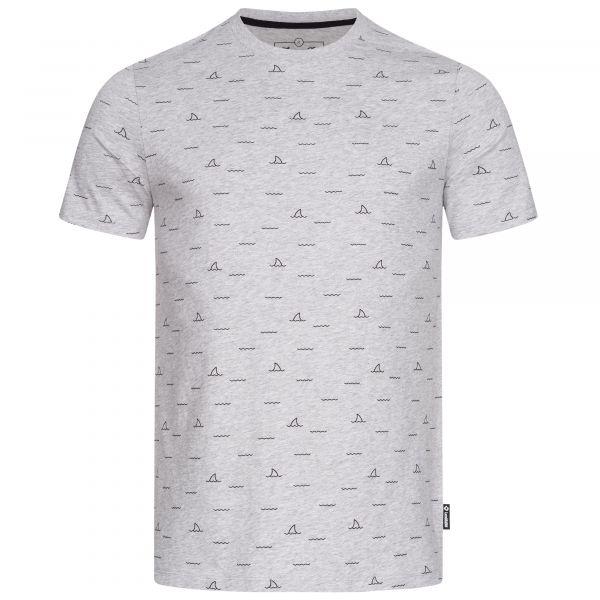 Herren T-Shirt in der Farbe Grau-Melange mit dezentem Shark Fin-Allover-Print