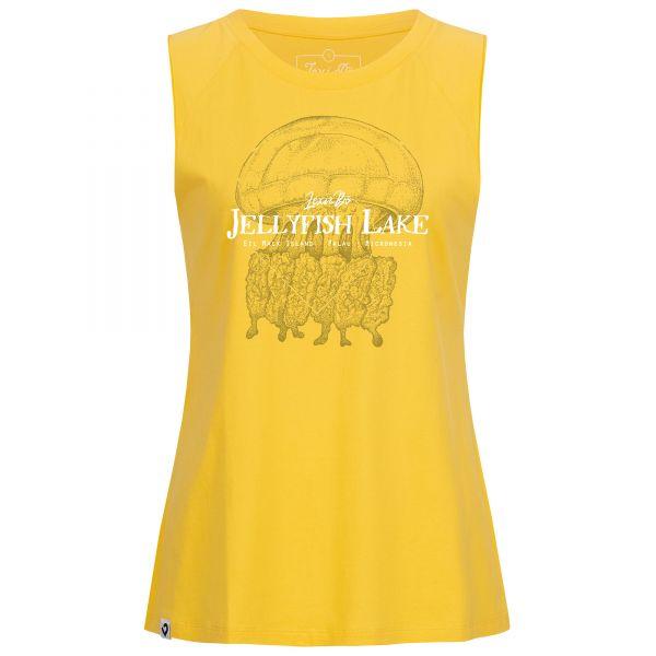 """Jellyfish Lake Oversized Tank Top in goldgelb für Damen von Lexi&Bö - Vorderseite mit großem Quallen-Design"""""""
