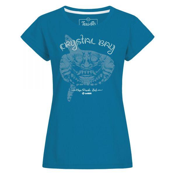 Crystal Bay Bali T-Shirt in blau für Damen von Lexi&Bö - Vorderseite mit großem Barong/Mondfisch-Design