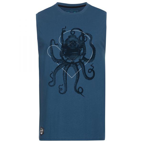 Gerade geschnittenes, blaues Tank-Top für Herren mit Nautical Octopus-Print.