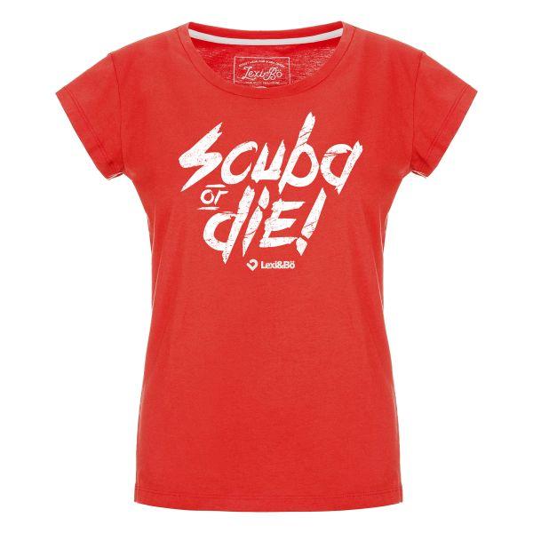 Scuba or die! T-Shirt für Damen in rot von Lexi&Bö - Vorderseite