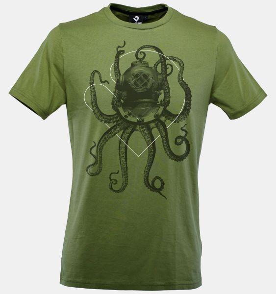 Nautical Octopus T-Shirt für Herren in kohle grün von Lexi&Bö - Vorderseite