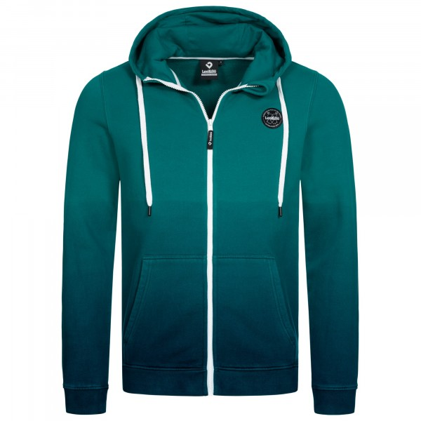 Men's hoodie with colour gradient from green-blue to blue