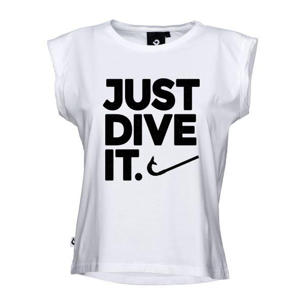 Just dive it. Damen Beach Cut in weiß mit schwarzem Schriftzug - Vorderansicht
