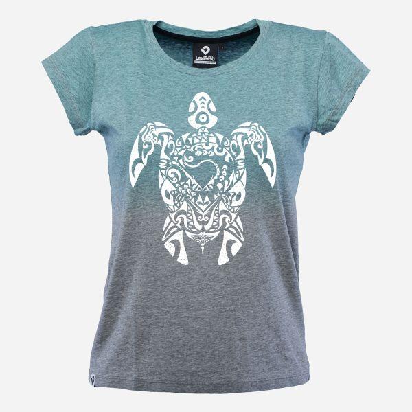 Tribal Turtle T-Shirt für Damen als Dip Dye in grau melange/aquamarin; Vorderansicht
