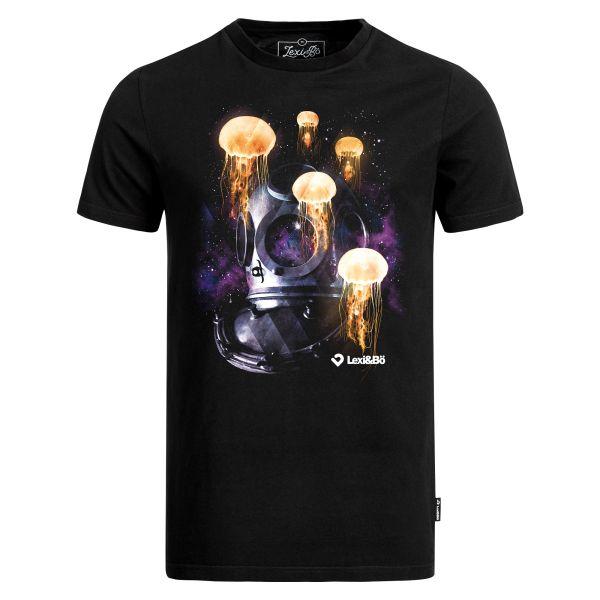 Diver in Space T-Shirt in schwarz für Herren von Lexi&Bö - Vorderseite