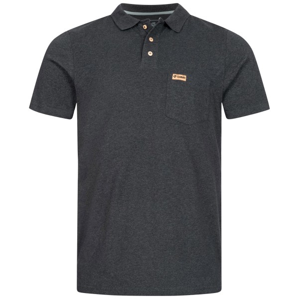 Dark grey polo shirt for men with wooden buttons and logo label made of cork.